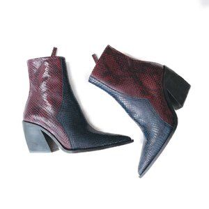 NEW TOPSHOP Blue Leather Western Snakeskin Boots